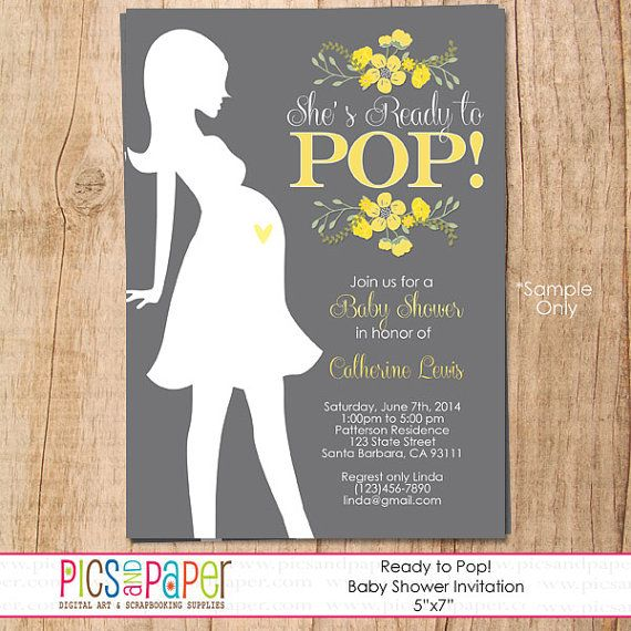 Shes ready to pop baby shower invitation with yellow flowers and shes ready to pop baby shower invitation with yellow flowers and silhouette of pregnant woman filmwisefo