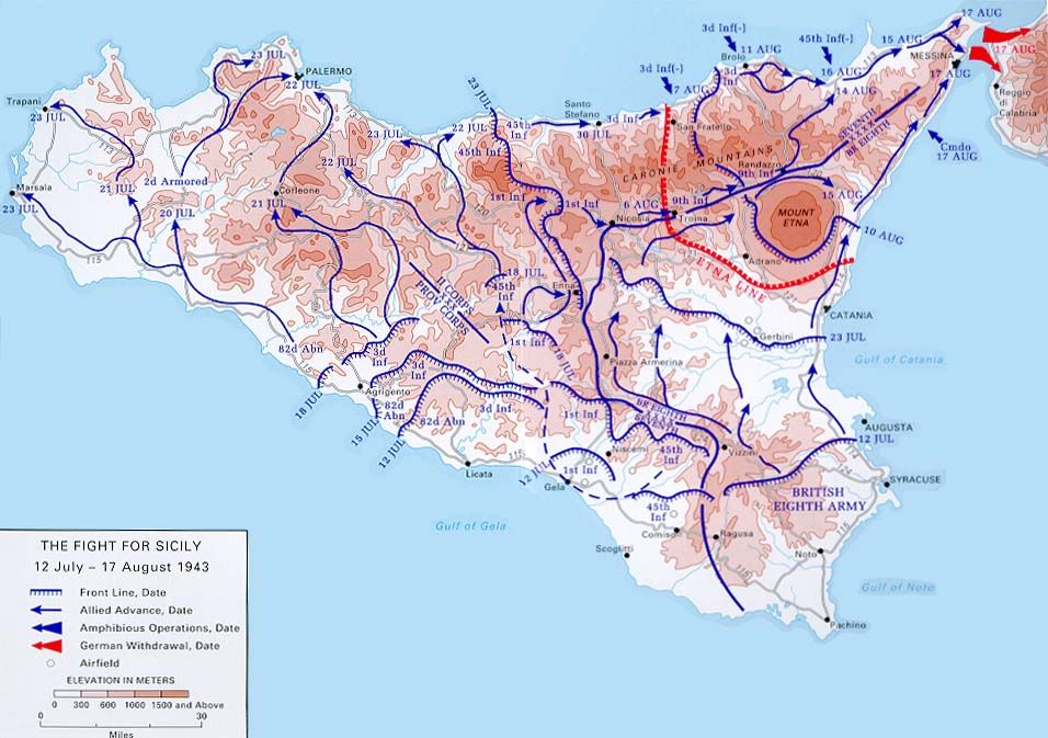 Map] Map noting the Allied advances in Sicily Italy 12 Jul to 17
