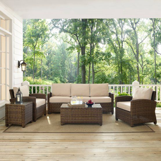 crosley bradenton 5 piece wicker conversation set with cushions