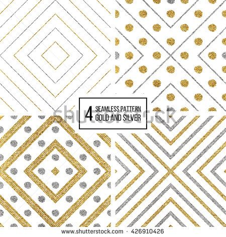 Set of geometric seamless pattern of gold silver rhombus and circle, abstract seamless background of golden and silvern stripes and points, hand drawn vector pattern for invitation, card, wedding, web