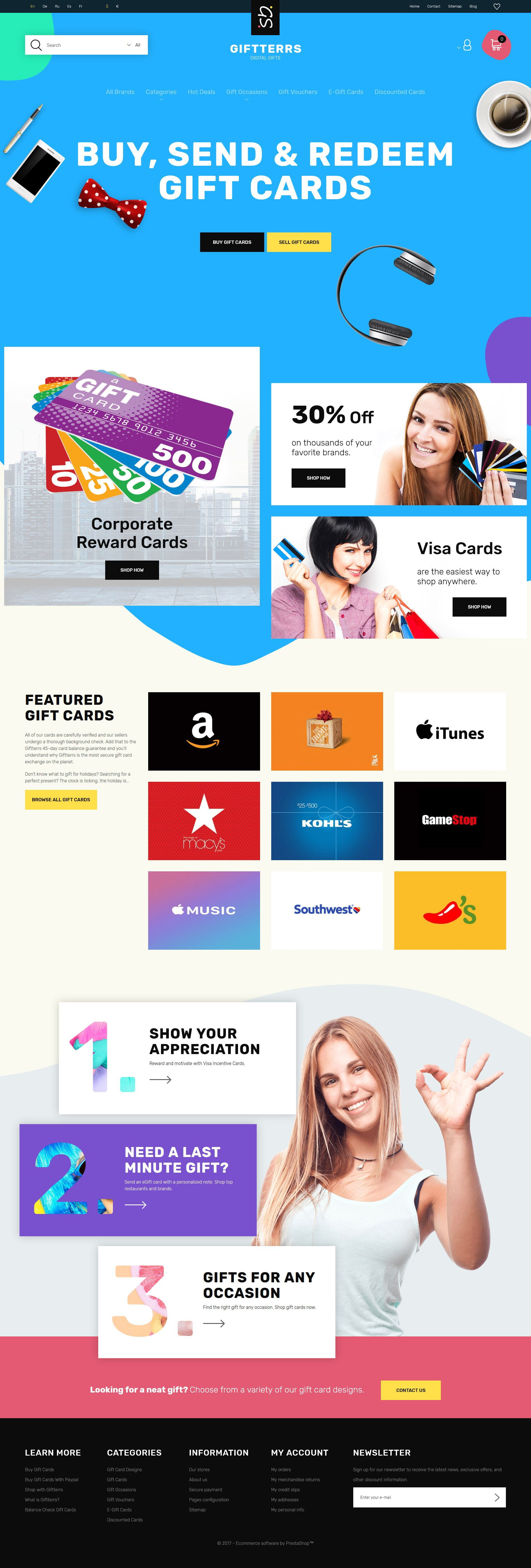 Giftterrs Gift Cards for Any Purpose PrestaShop Theme