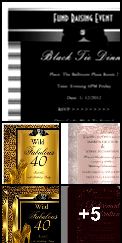 Formal Black Tie Metal Stripe Corporate Invite  Formal Black Tie Metal Stripe Corporate Invite