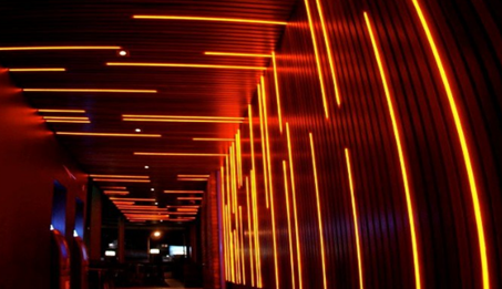 Led neon flex decorated in the ceiling and wall