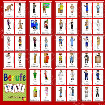Berufe auf Deutsch 44 Karten mit verschiedenen Berufen für den ...