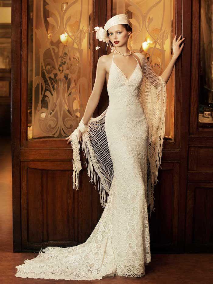 hochzeitskleider spitze, brautkleid im vintage stil in kombination ...