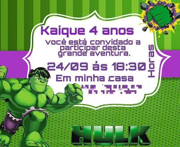 Convite Infantil Incrível Hulk Hulk Em 2019 Pinterest Party