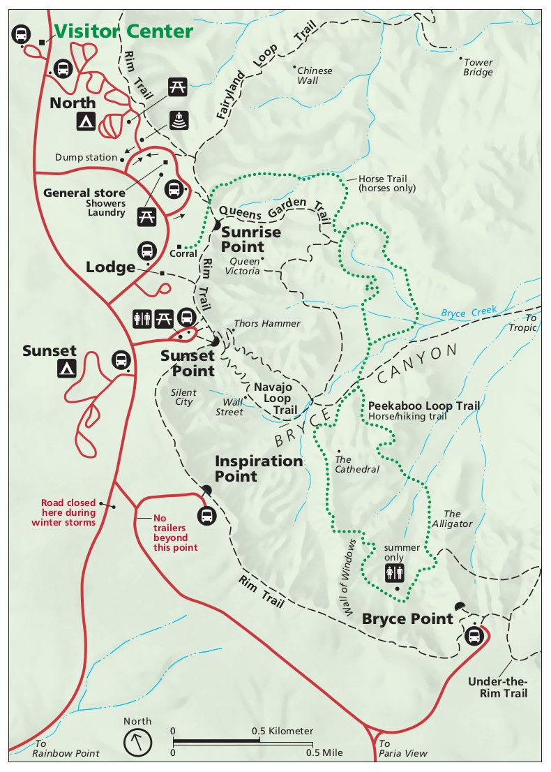 Bryce National Park Map bryce park map | This is pre 2013 Bryce Canyon National Park