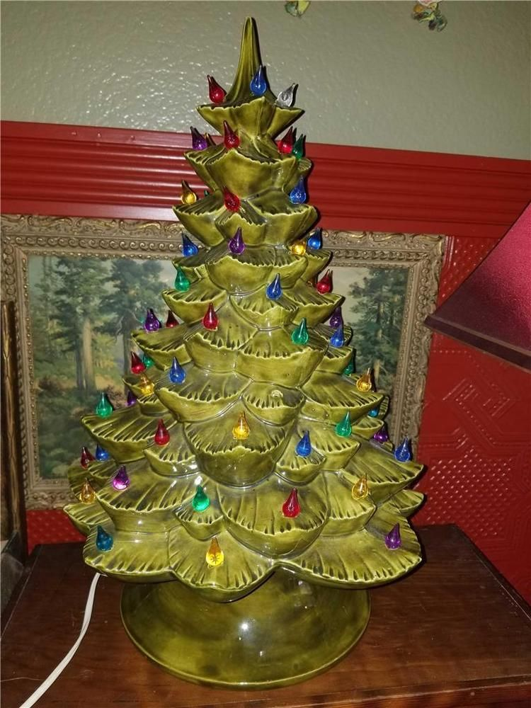 Details About Vintage Green Lighted Ceramic Christmas Tree Base