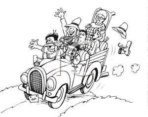 A Black and White Cartoon of a Hillbilly Family Traveling In