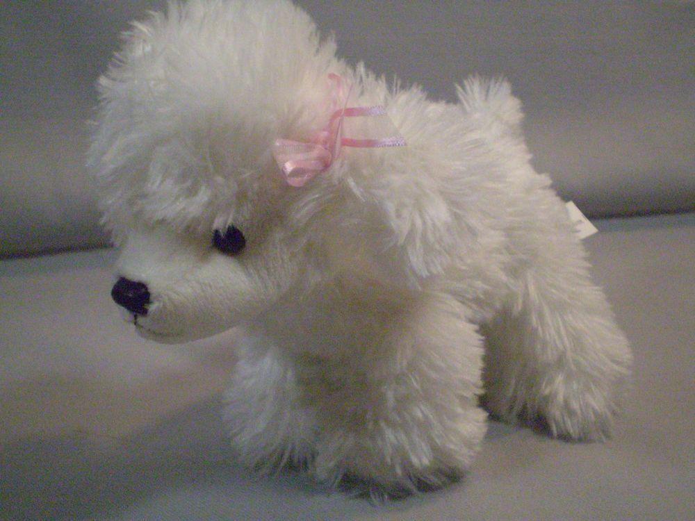 Aurora mini 7 white poodle puppy dog stuffed plush bean
