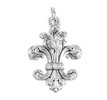 Fleur de Lis Crystals Charm Aimez Silver