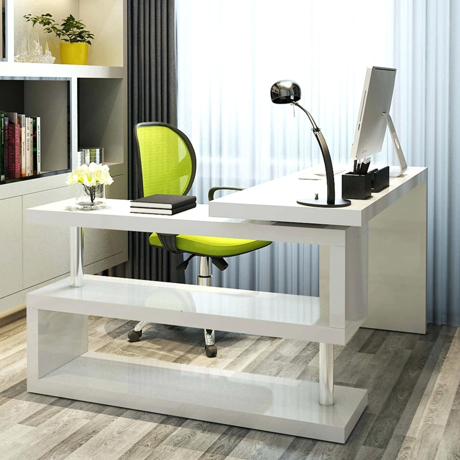 99+ Gloss White Corner Desk Home Office Furniture Set