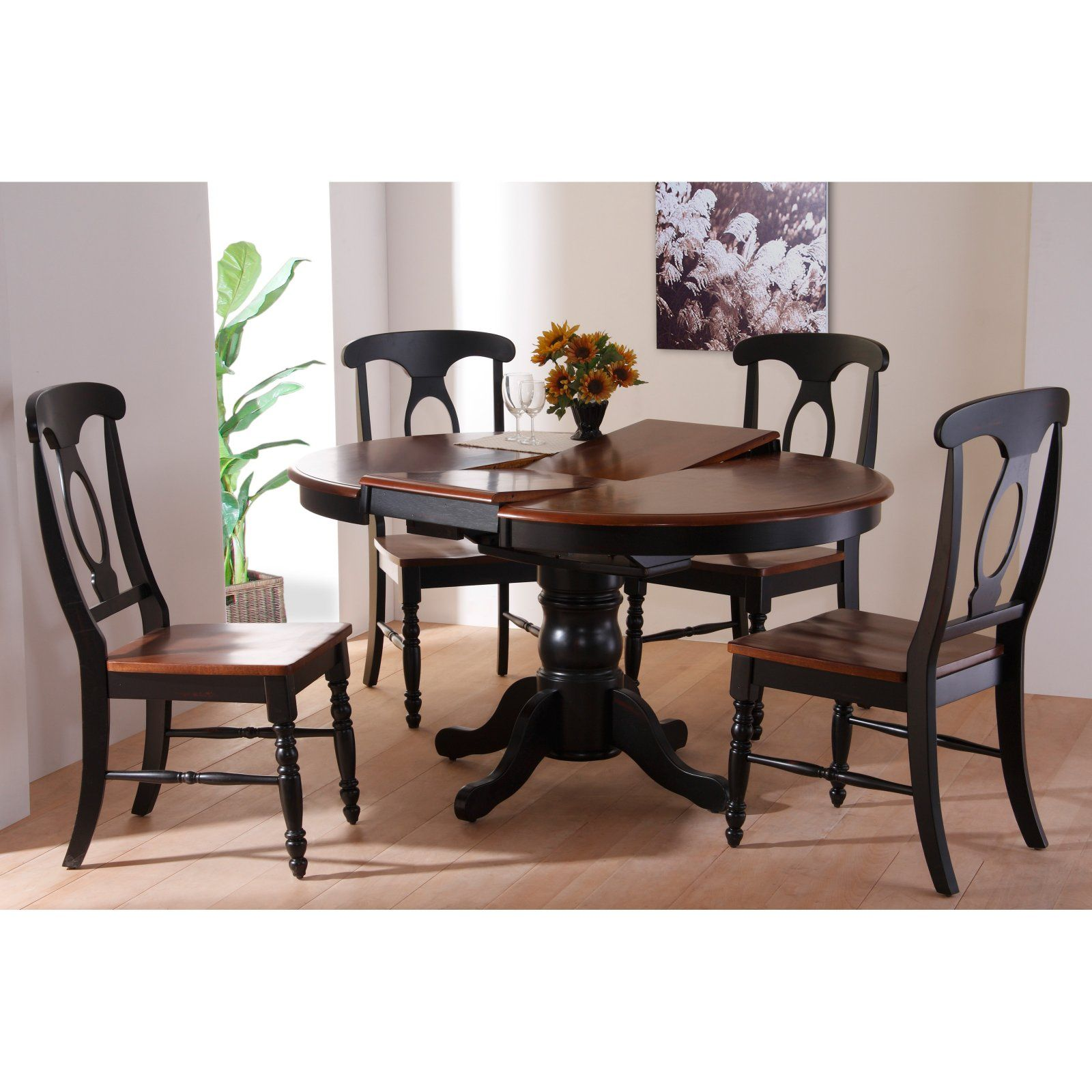 Casual Home 5 Piece Oval Solid Wood Pedestal Table Set With Napoleon Chairs Ebony Dark Walnut