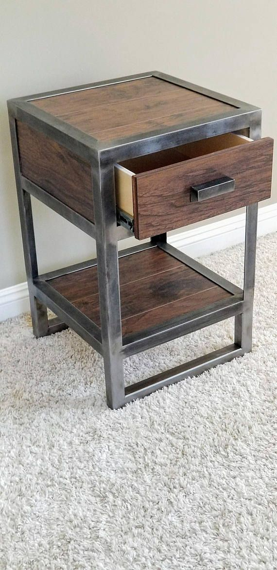 Wood And Metal Bedside Table: Industrial Reclaimed Wood Nightstand