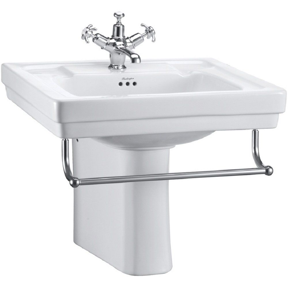 sink semi pedestal with towel rail