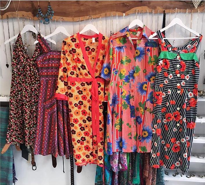 Lots Of 70 S Summer Dresses In Store Vintage Clothes Shop Vintage Clothing Boutique Ladies Vintage Clothing