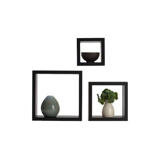set of 3 square cube wall mounted wood shelves shelf melannco rh pinterest com