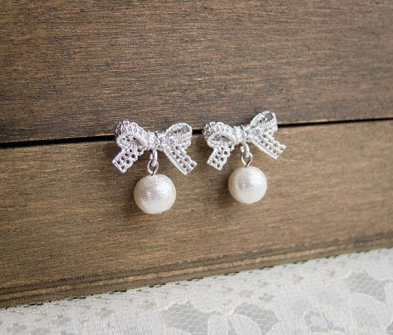 Cotton Pearl Lace Bow Earrings in Silver . silver by CocoroJewelry