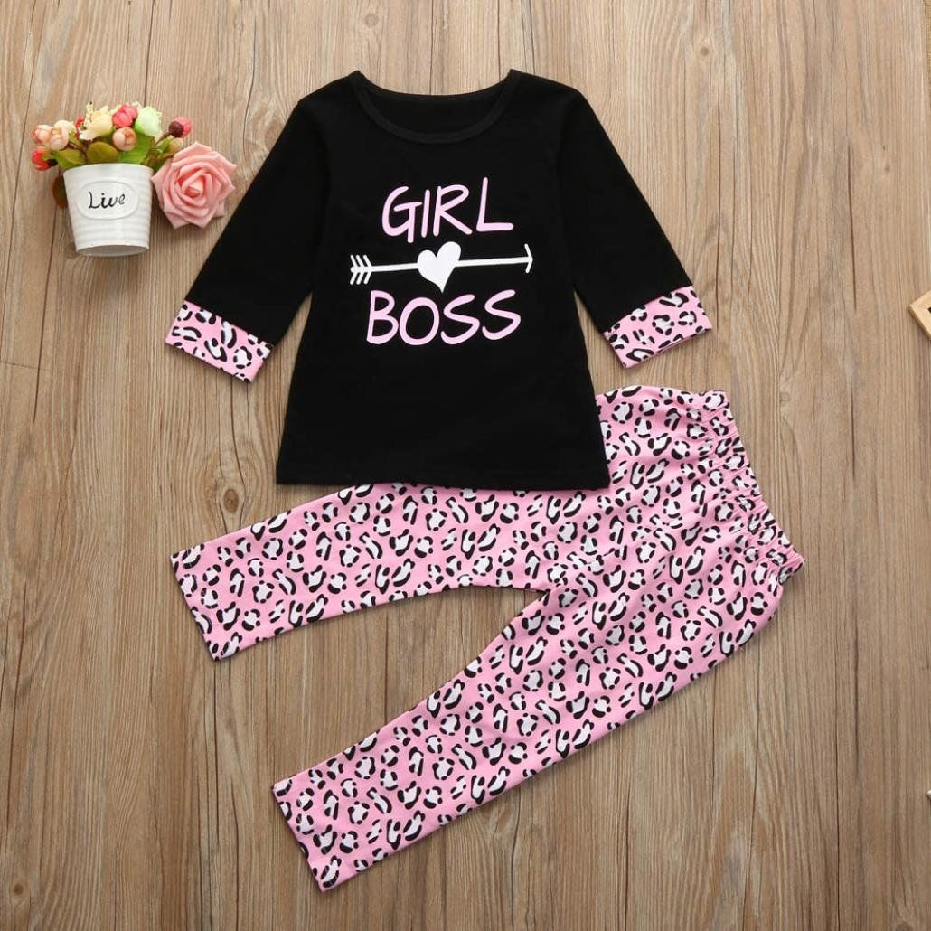 ab39395053bc Toddler Girl Clothing Set Kintaz 2018 Clearance Summer Spring 2PCS Toddler  Kids Baby Girls Outfits 3 4 Sleeve Letter Tshirt Tops Long Pants Clothes Set  Pink ...