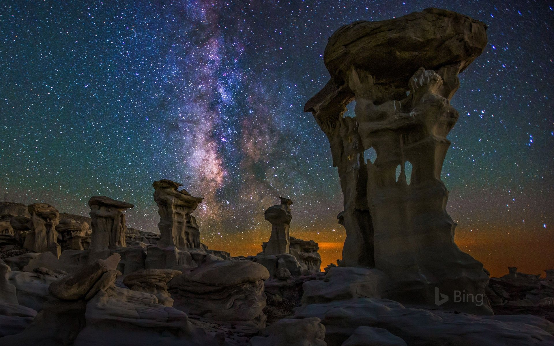Milky Way Over The Bisti De Na Zin Wilderness In New