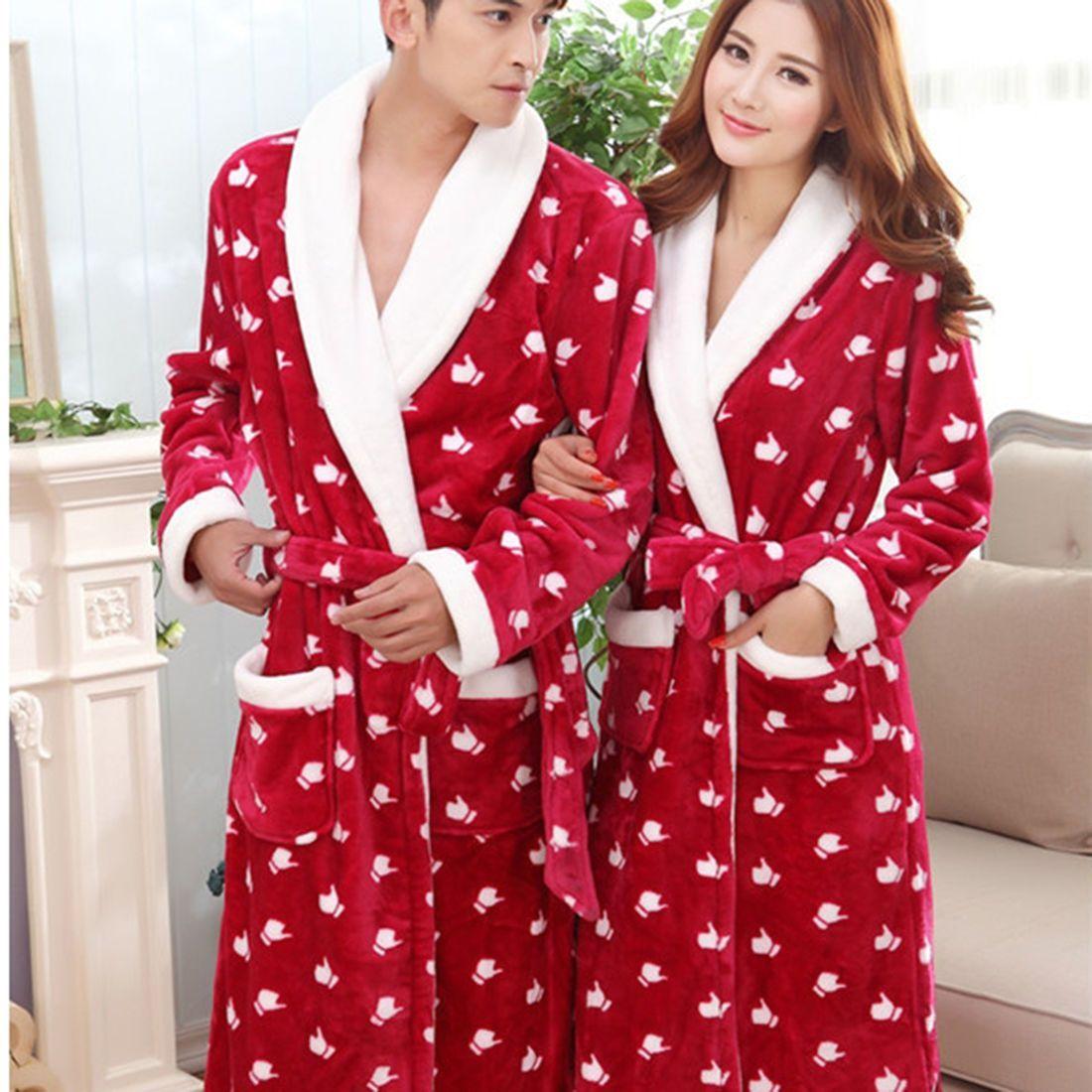 Men Women Winter Warm Coral Fleece Loose Long Robes Sleepwear Shawl  Bathrobe Spa d3fdaf6aa