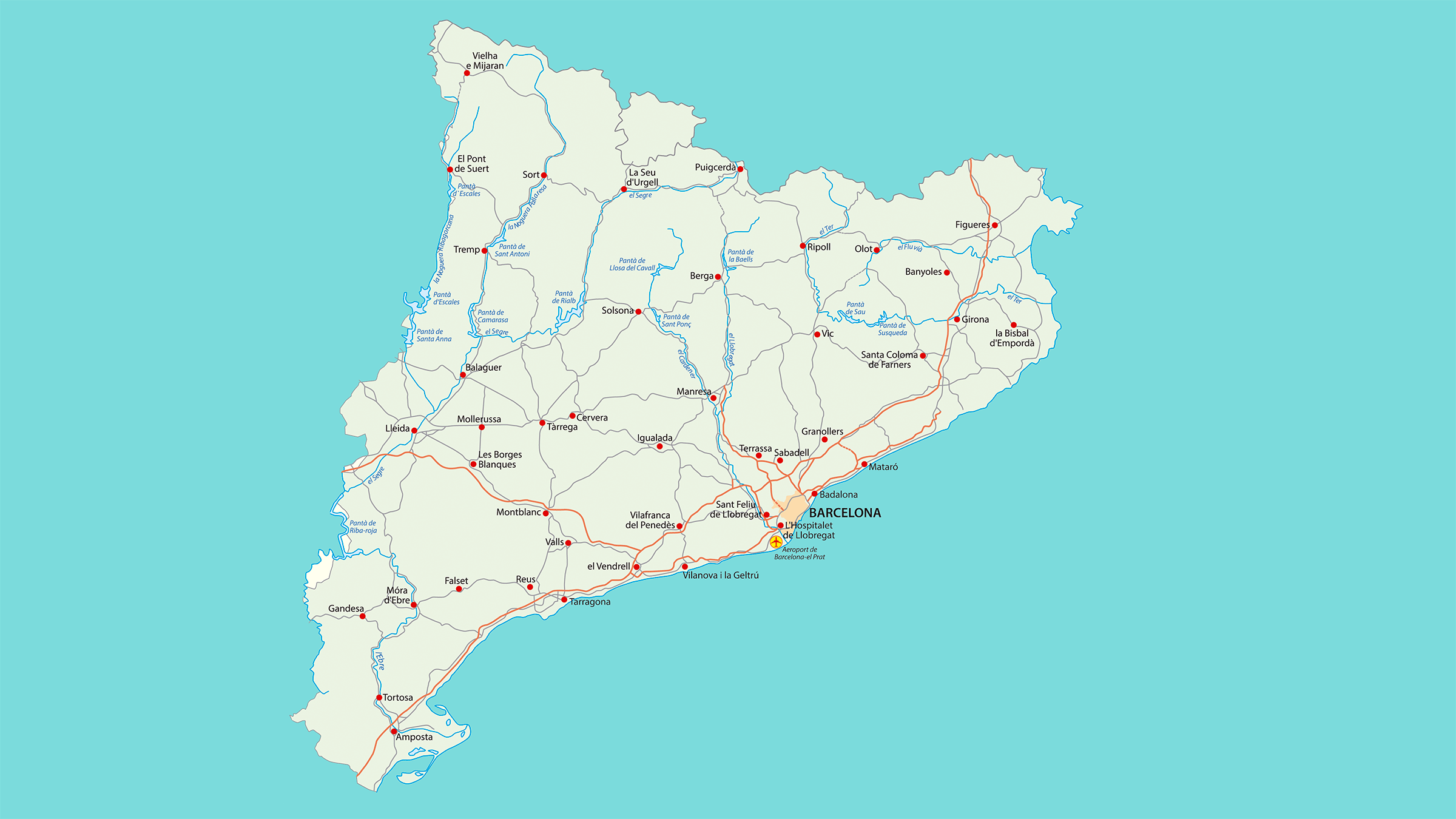 Mapa de carreteras de Catalua  Mapas del mundo  Pinterest