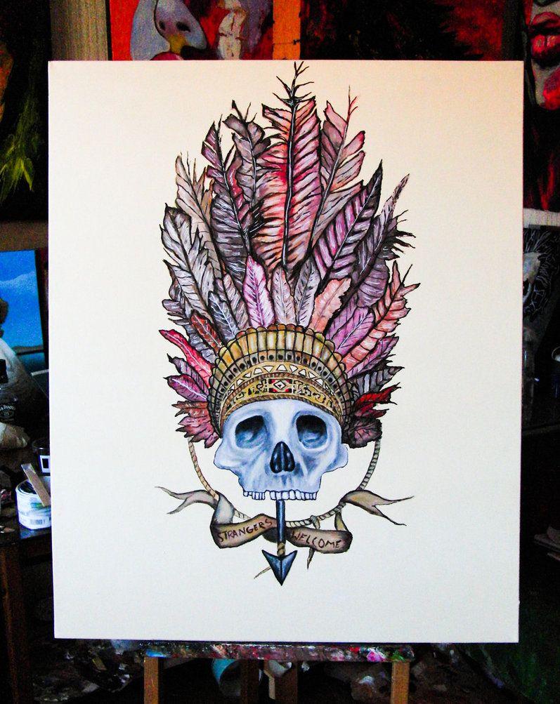 4e4eacc2564 indian headdress on skull - Google Search