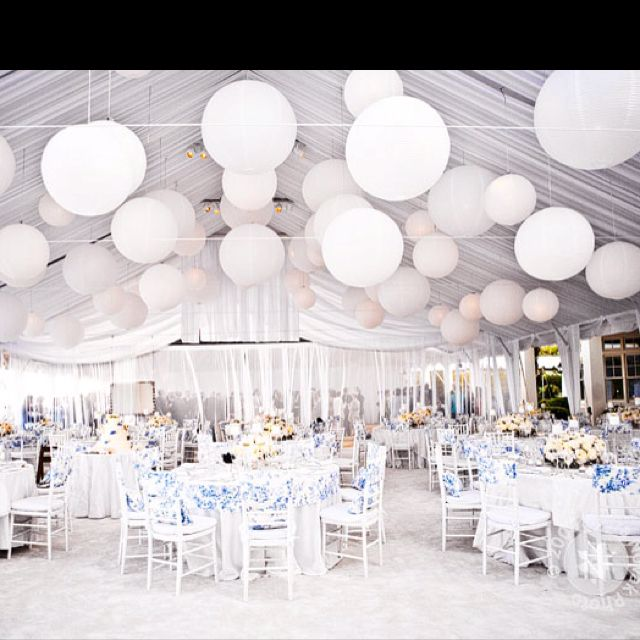 Balloon Decorations For Wedding Reception Ideas: Love The Big White Balloons In The Sky