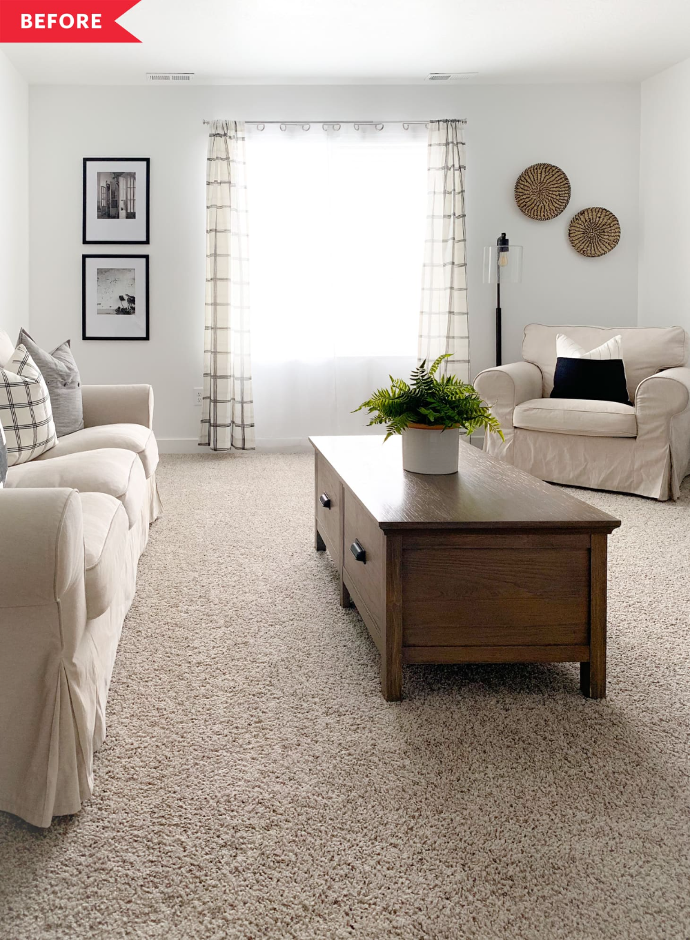 Before And After This 350 Living Room Refresh Shows The Power Of Small Tweaks Beige Carpet Living Room Navy And White Living Room Beige Living Rooms