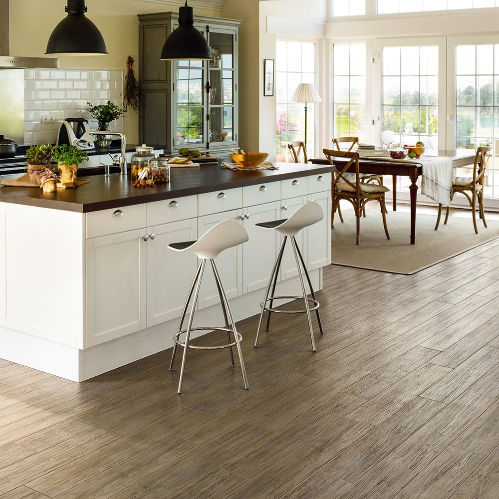 Beachwood porcelain plank tile, a dockside wood look http