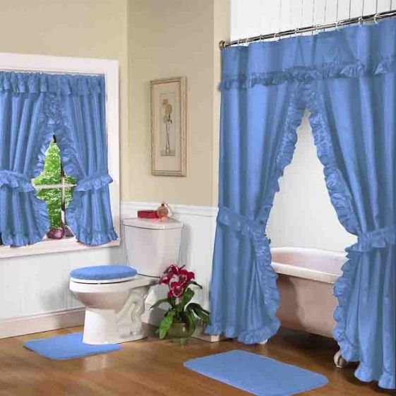 Blue Double Swag Shower Curtain W Available Window Curtain Shower Curtain With Valance Bathroom Window Curtains Double Swag Shower Curtain