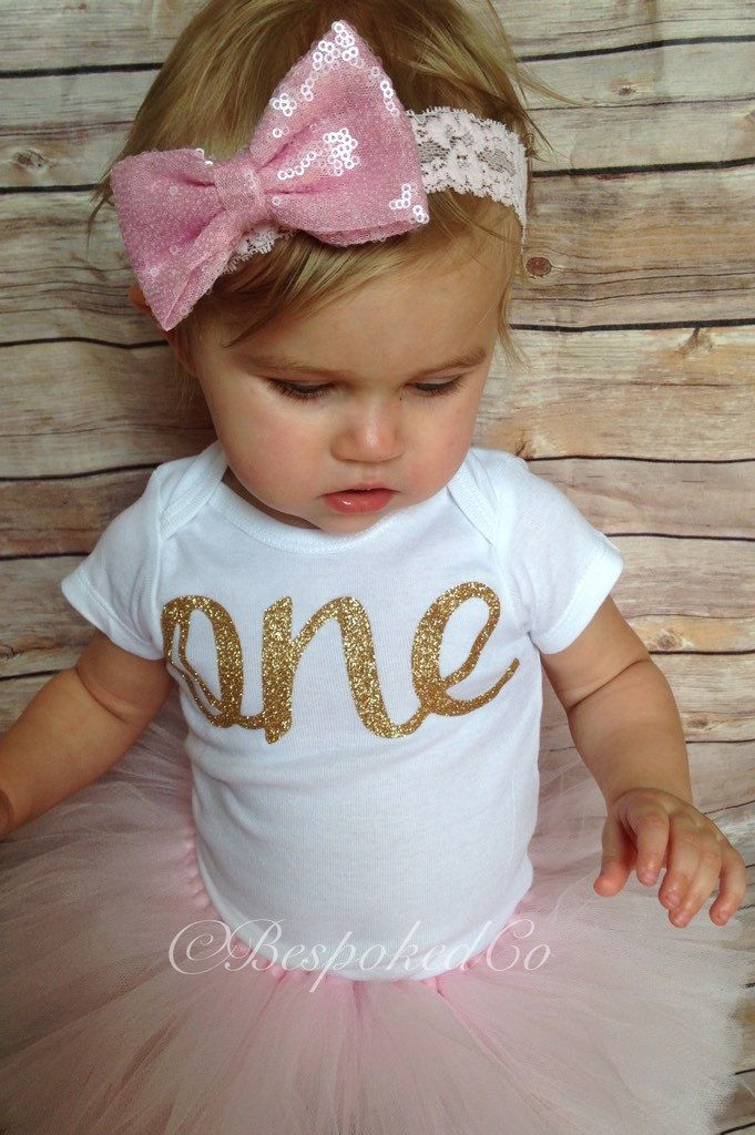 Pink And Gold First Birthday Outfit Smash Cake Lace Headband