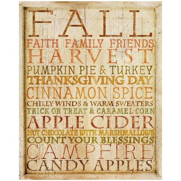 Fall Word Cloud Home Decor Seasonal Art Print ❤ liked on Polyvore ...