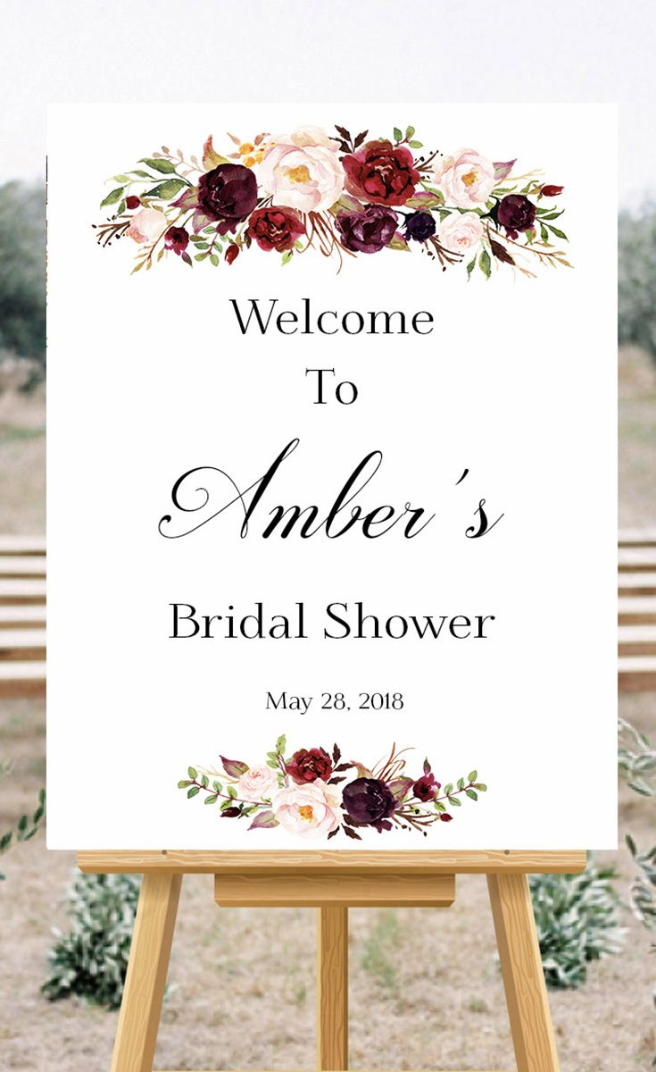 Bridal Shower welcome sign in Marsala floral design #marsala #bride ...
