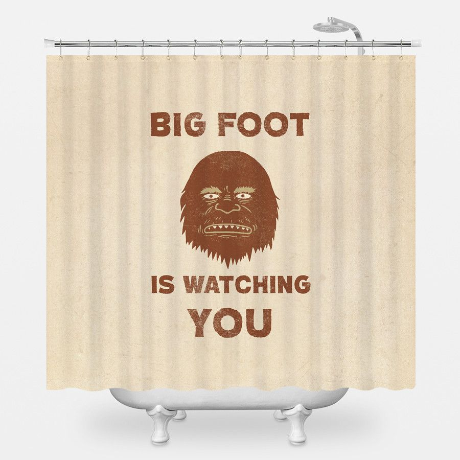 Big Foot Is Watching Shower Curtain Shower Curtain