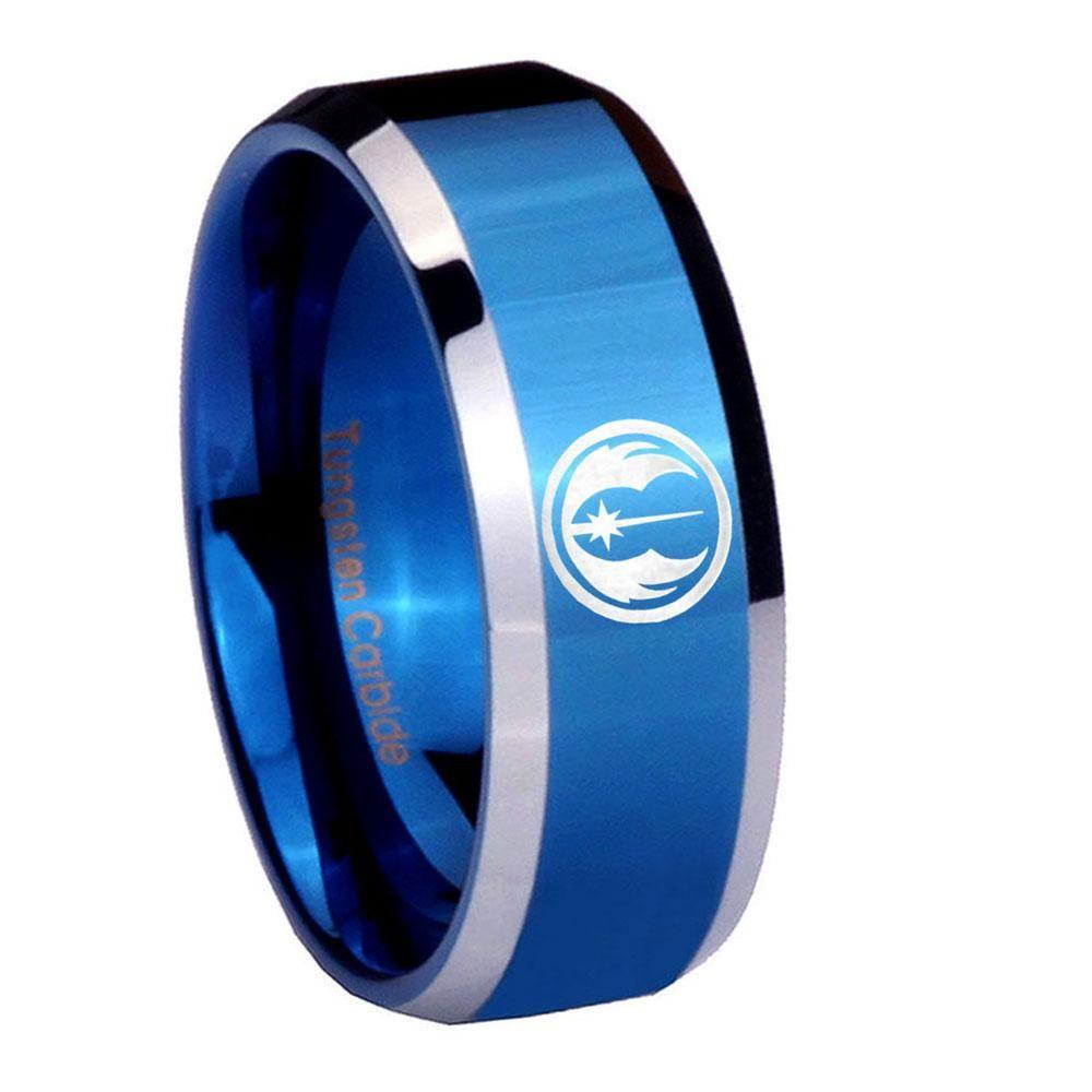 10mm jedi beveled edges blue 2 tone tungsten mens