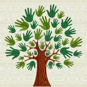 Herfst boom --> met verschillende kleuren (rood, geel, bruin...). Leuk op behangpapier; in elke hand de naam van de leerling geschreven.