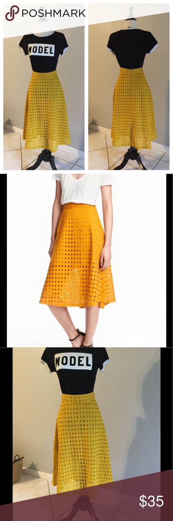 H&M Eyelet Midi Skirt Worn occasionally. Yellow lined ...