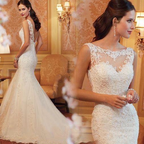 Ulass 2015 Hot Sale Lace Mermaid Wedding Dress Sexy Bridal Gown Custom Size 2-4-6-8-10-12-14-16-18