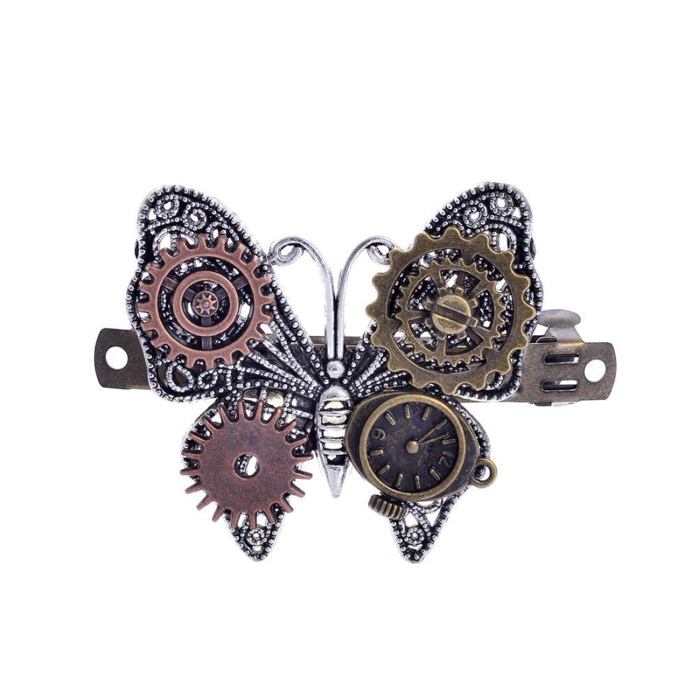 Gears Butterfly Charm Girls Steampunk DIY Barrette Hair Accessories - Daily Otaku Things