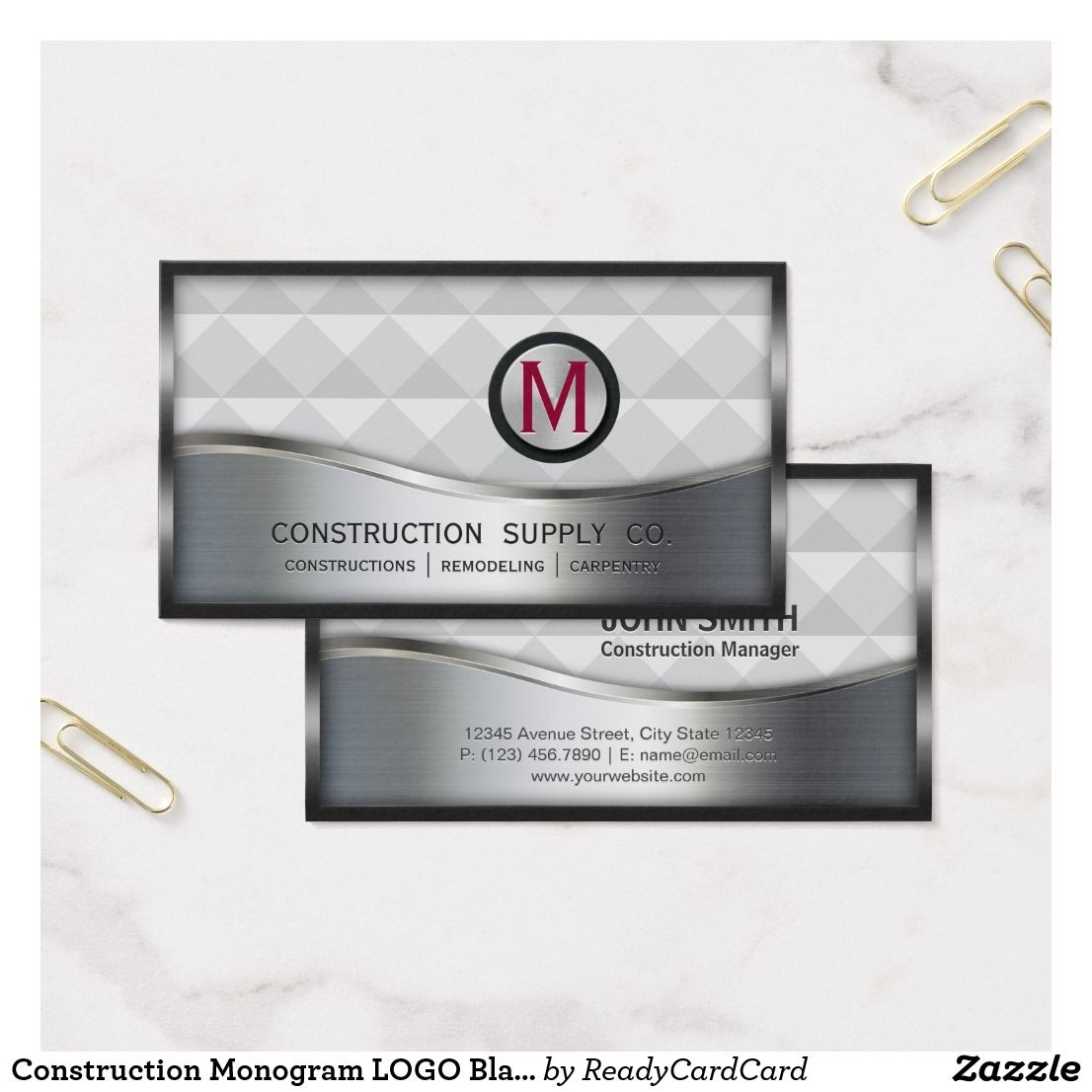 Construction Monogram Logo Black And Silver Metal Business Card