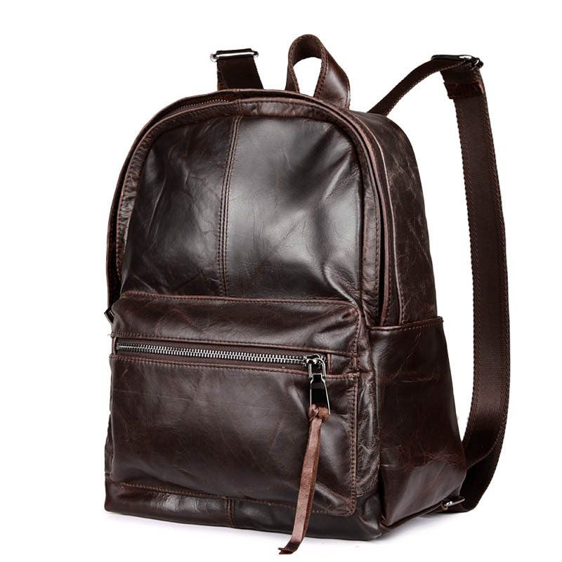 Men Vintage Style Backpack Soft Genuine Leather Casual School ...