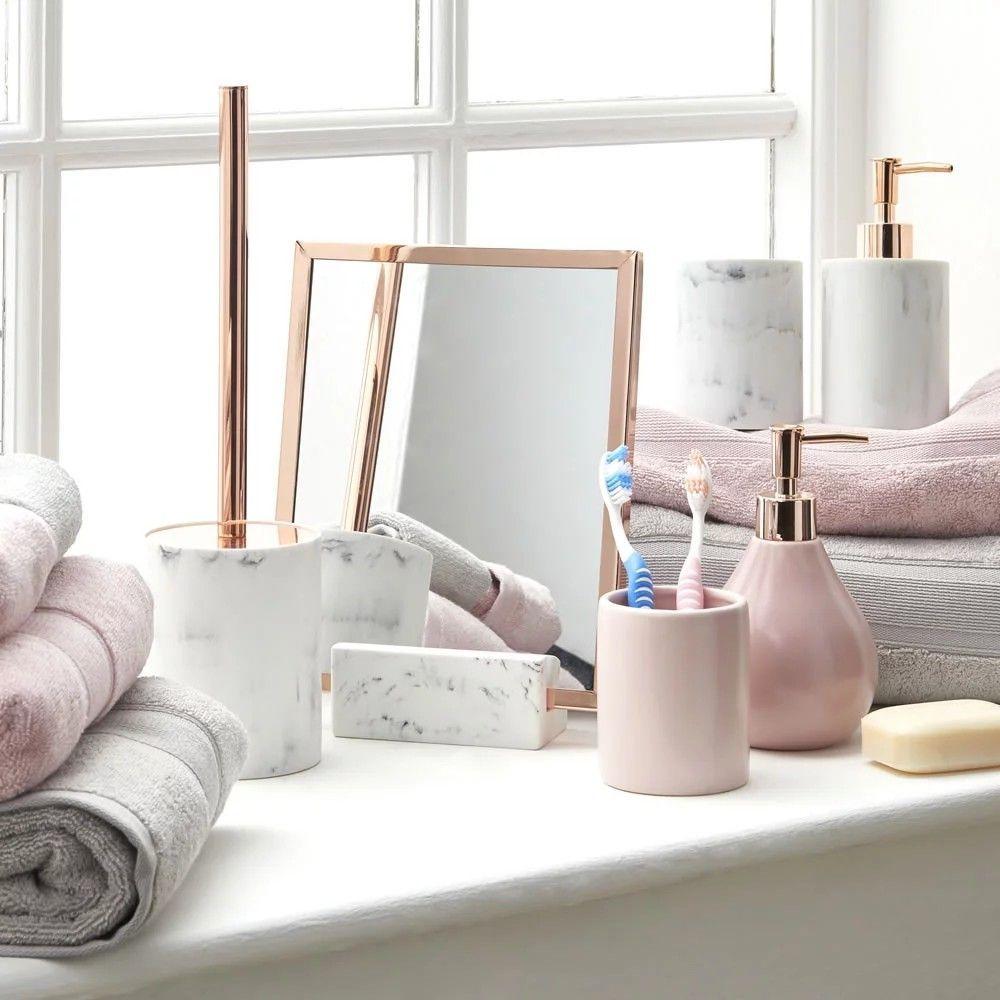 Wilko Bathroom Accessories Marble And Rose Gold Rose Gold Room Decor Pink Bathroom Accessories White Marble Bathrooms