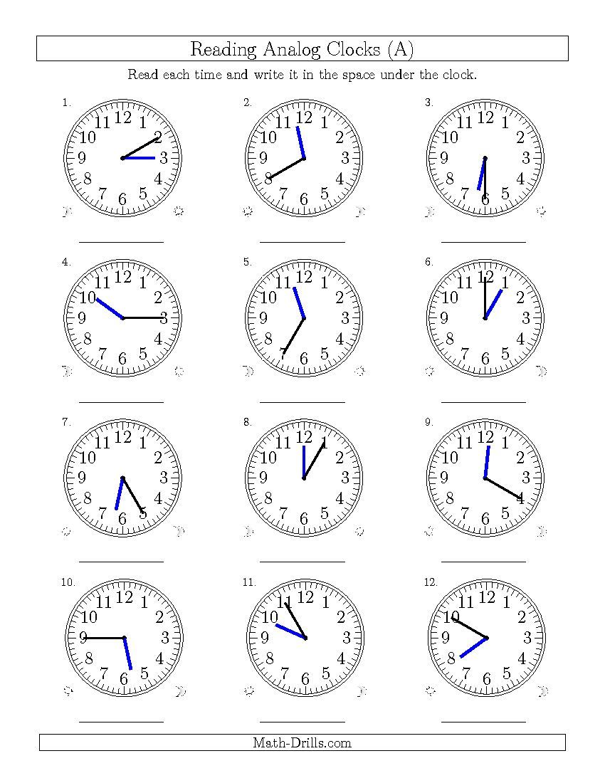 worksheet Analogue Time Worksheet reading time on 12 hour analog clocks in 5 minute intervals all the a worksheet