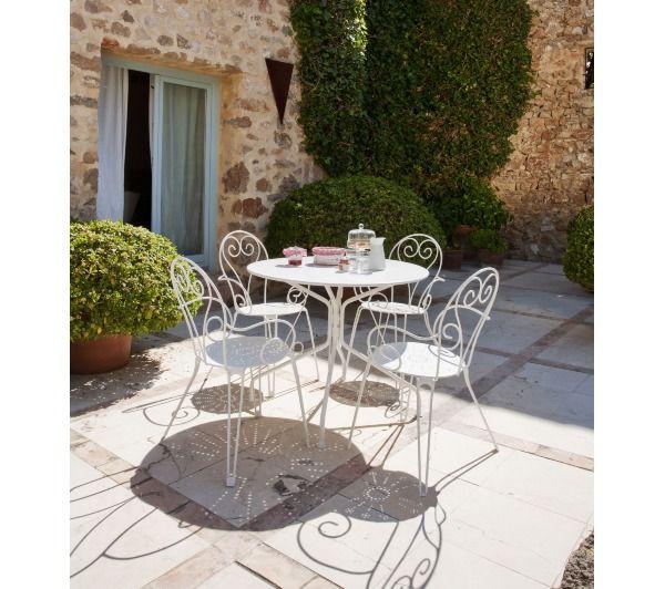 CARREFOUR Table de jardin ROMANTIQUE - Ø 95 cm - Acier - Blanc - 4 ...