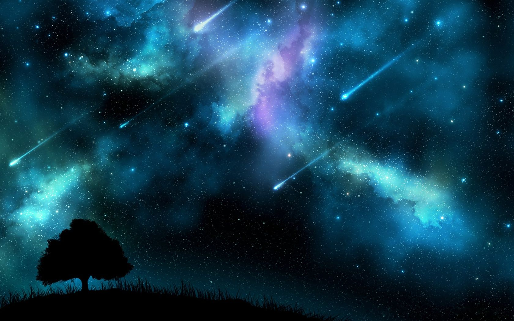 Meteor Shower At Night Blue Sky Trees Silhouette Wallpaper