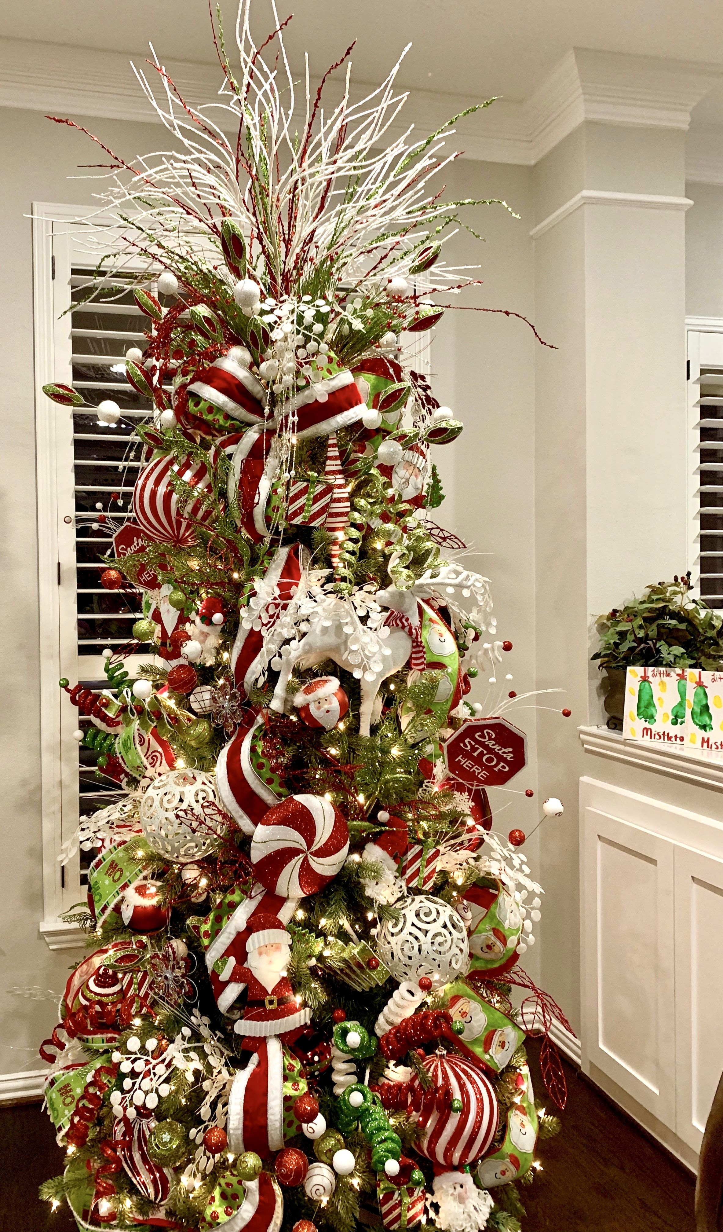 Candy cane Christmas tree designed by Andrea Oaks