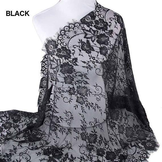 3yards Long Eyelash White/Black Lace Trim Mesh Lace Ribbon Decoration Crafts Sewing Lace For Wedding