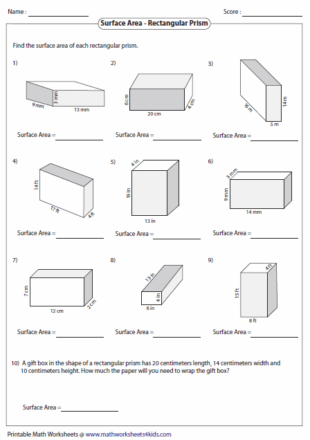 surface area rectangular prism worksheet resultinfos. Black Bedroom Furniture Sets. Home Design Ideas