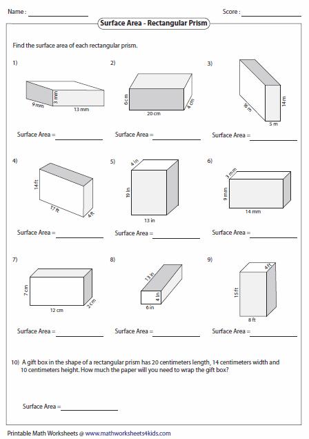 Surface Area of Rectangular Prisms | kola - geometrie ...